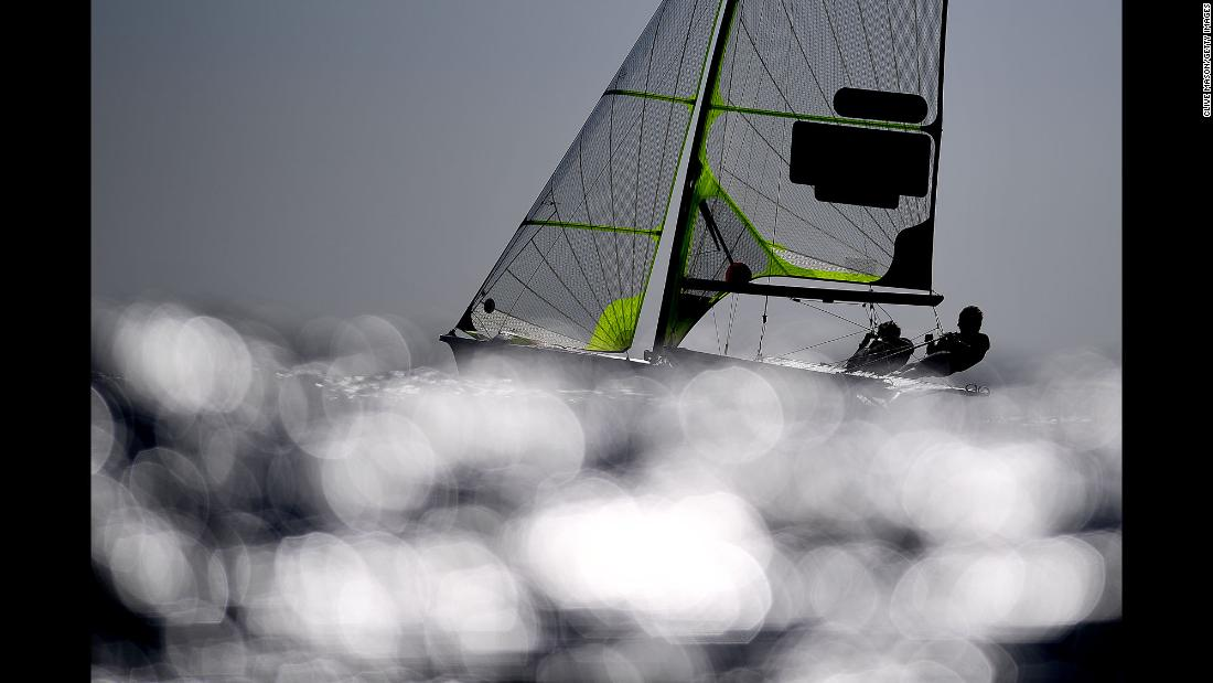 Chris Taylor and Sam Batten of Great Britain sail during a 49er class race on Tuesday, May 14 in Weymouth, England.