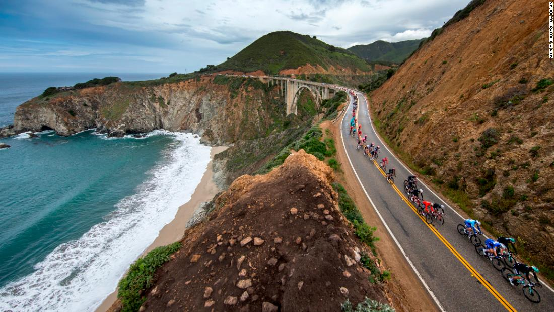 Cyclists cross over the Bixby Creek Bridge during stage four of the 14th Amgen Tour of California on Wednesday, May 15 in Morro Bay, California.