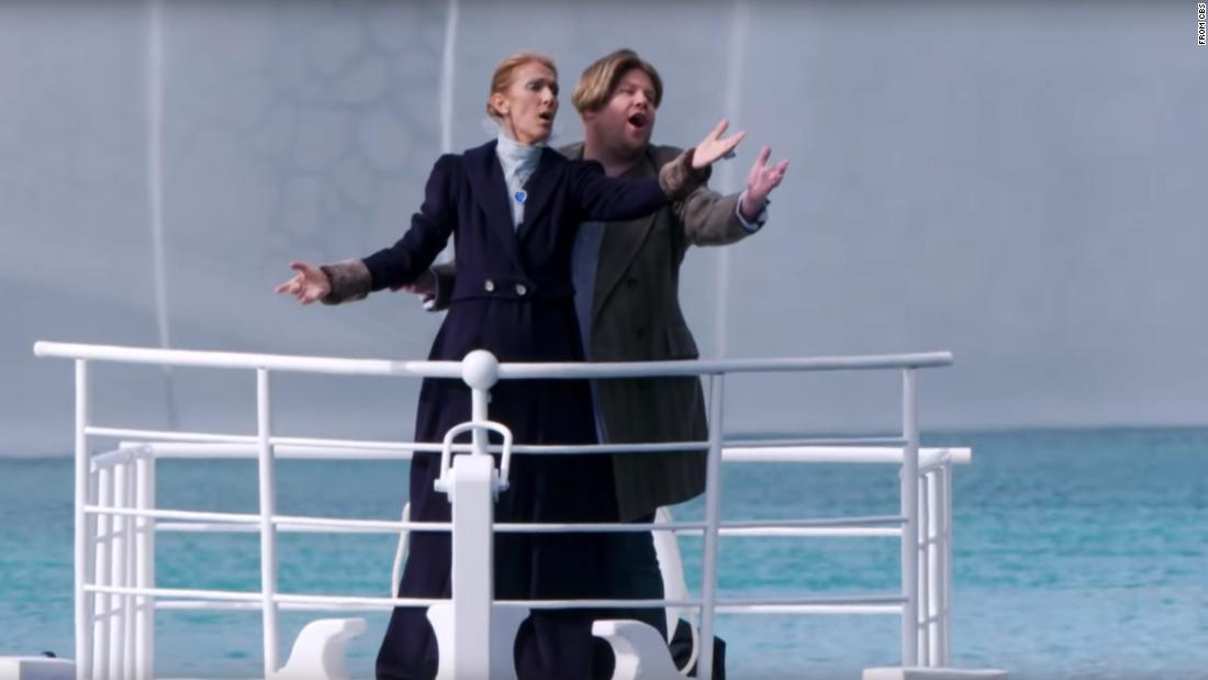 Celine Dion and James Corden recreate 'Titanic' scene