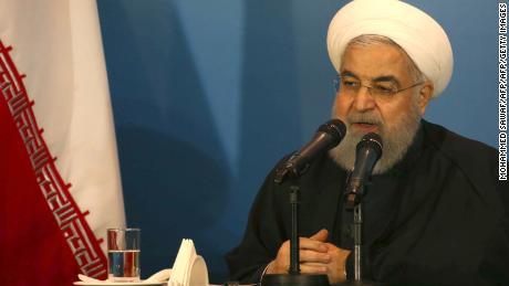 Iranian President Hassan Rouhani speaks at a tribal meeting as he visits Karbala on March 12, 2019. - Iran's President Hassan Rouhani arrived on March 11 in Iraq for his first official visit, as Baghdad comes under pressure from Washington to limit political and trade ties with its neighbour. (Photo by Mohammed SAWAF / AFP) / The erroneous mention[s] appearing in the metadata of this photo by Mohammed Sawaf has been modified in AFP systems in the following manner: [Mohammed Sawaf] instead of [Stringer]. Please immediately remove the erroneous mention[s] from all your online services and delete it (them) from your servers. If you have been authorized by AFP to distribute it (them) to third parties, please ensure that the same actions are carried out by them. Failure to promptly comply with these instructions will entail liability on your part for any continued or post notification usage. Therefore we thank you very much for all your attention and prompt action. We are sorry for the inconvenience this notification may cause and remain at your disposal for any further information you may require.        (Photo credit should read MOHAMMED SAWAF/AFP/Getty Images)