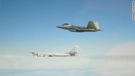 NORAD Command: NORAD fighters intercepted Russian bombers+fighters entering Alaskan ADIZ May 20. 2x Tu-95s were intercepted by 2x F-22s; a second group of 2x Tu-95+2x Su-35 was intercepted later by 2 more F-22s; NORAD E-3 provided overall surveillance. The aircraft remained in int'l airspace
