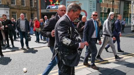 Farage after the incident, in Newcastle, northeastern England.