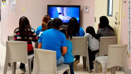 Detainees watch TV on August 9, 2018, at the South Texas Family Residential Center in Dilley, Texas. This photo was provided by U.S. Immigration and Customs Enforcement.