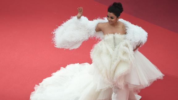"Aishwarya Rai wore a cloud-like custom gown from Ashi Studio to the screening of ""La Belle Epoque."""