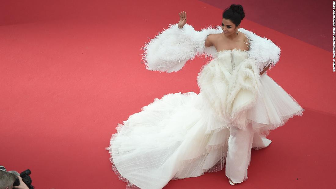 "Aishwarya Rai wore a cloud-like custom gown from Ashi Studio to the screening of ""La Belle Epoque."""