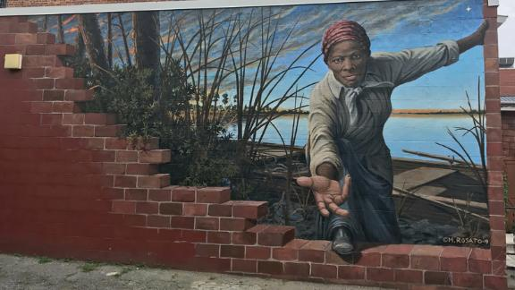 Artist Michael Rosato's mural outside the wall of the Harriet Tubman Museum & Educational Center in Cambridge, Maryland