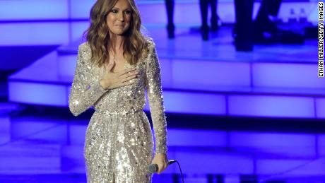 LAS VEGAS, NV - AUGUST 27:  Singer Celine Dion reacts to a standing ovation from the audience as she performs at The Colosseum at Caesars Palace as she resumes her residency on August 27, 2015 in Las Vegas, Nevada. The show had been on hiatus since August 2014 when Dion stopped performing to care for her ailing husband Rene Angelil.  (Photo by Ethan Miller/Getty Images)