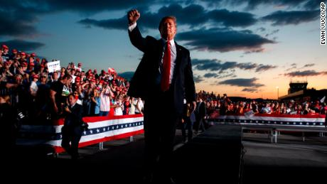President Donald Trump pumps his fist to the crowd after speaking to a campaign rally in Montoursville, Pa. (AP Photo/Evan Vucci)