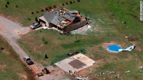 A damaged house during a tornado in Mangum, Oklahoma.
