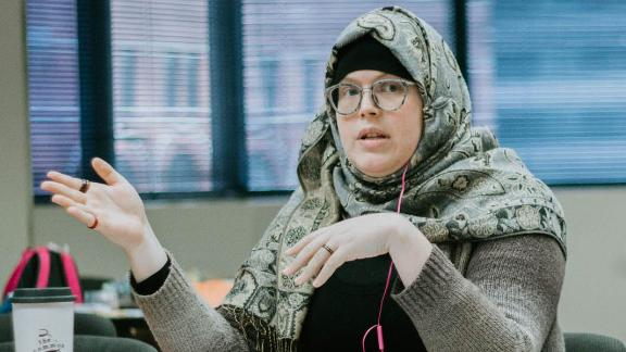 Mahdia Lynn at Masjid al-Rabia, a mosque that welcomes Muslims of different sects, races, genders and sexual identities.