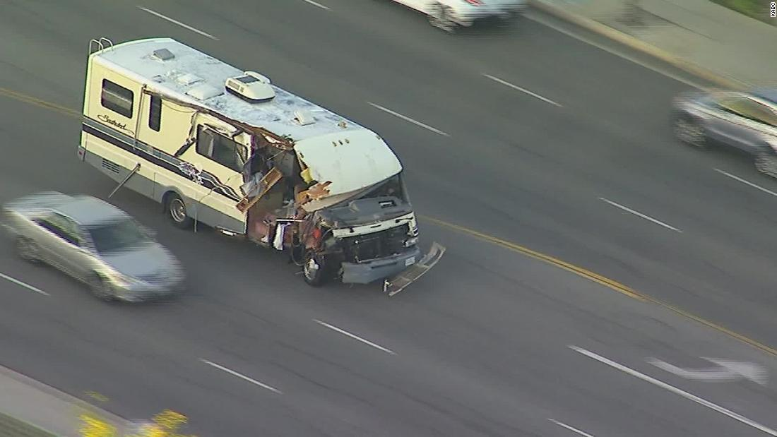 A wild police chase in California had multiple collisions and dogs leaping from a stolen RV