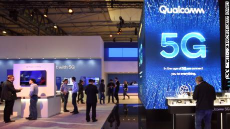 L´HOSPITALET, CATALONIA, SPAIN - 2019/02/25: Qualcomm brand stand in 5G technology seen at the Mobile World Congress in Barcelona. (Photo by Ramon Costa/SOPA Images/LightRocket via Getty Images)