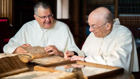 Pictured (L-R) is Father Karel Stautemas, subprior at Grimbergen Abbey, who is studying to be a brewer to join the microbrewery team with Father Ton Smits, a fellow monk at the abbey.