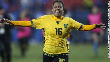 FRISCO, TX - OCTOBER 17:  Sheyla Diaz #16 of Jamaica celebrates her game winning goal during the CONCACAF Women's Championship third place match at Toyota Stadium on October 17, 2018 in Frisco, Texas.  (Photo by Ronald Martinez/Getty Images)