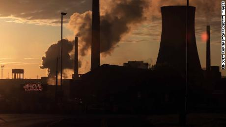 British Steel's Scunthorpe plant is pictured at dawn in north Lincolnshire, north east England on May 22, 2019. - A collapse of British Steel, Britain's second biggest steelmaker, would spark the loss of up to 5,000 jobs at the group's sprawling steelworks in Scunthorpe, northern England. (Photo by Lindsey Parnaby / AFP)        (Photo credit should read LINDSEY PARNABY/AFP/Getty Images)
