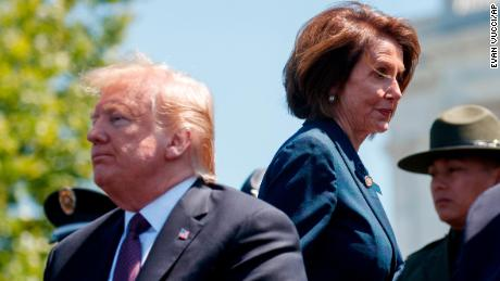 President Donald Trump and Speaker of the House Nancy Pelosi of Calif., attend the 38th Annual National Peace Officers' Memorial Service at the U.S. Capitol, Wednesday, May 15, 2019, in Washington. (AP/Evan Vucci)