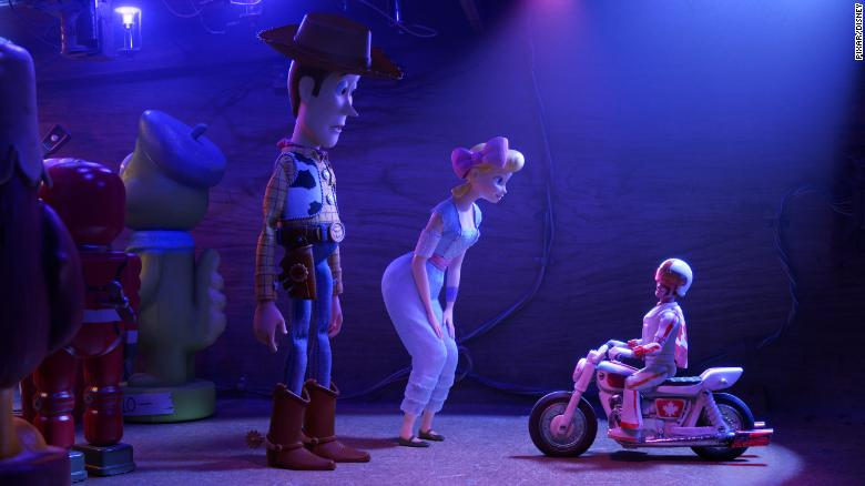 Woody, Bo Peep and Duke Caboom in 'Toy Story 4.'