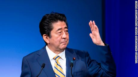 TOKYO, JAPAN - FEBRUARY 10: Japanese Prime Minister and Liberal Democratic Party (LDP) President Shinzo Abe delivers a speech at the party's annual convention on February 10, 2019 in Tokyo, Japan. The ruling party introduced candidates running for a triennial election for the Upper House set to be held this summer at the annual convention.  (Photo by Tomohiro Ohsumi/Getty Images)