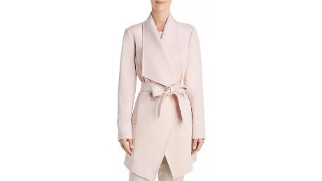 9a97ef6a354 T Tahari Abbey Drape Front Crepe Coat ($129.50, originally $185;  bloomingdales.com)