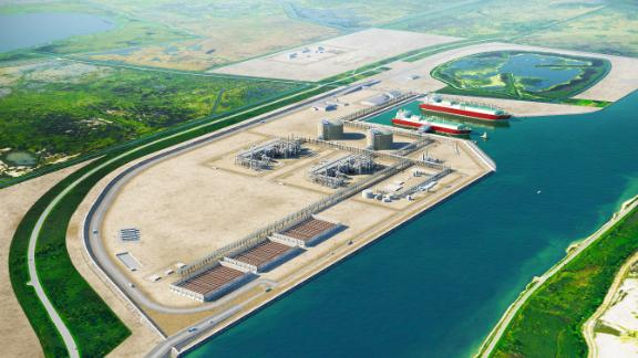 A Port Arthur, Texas LNG export project that's under development is seen in this artist's rendering