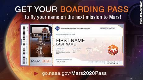 No, you can't go to Mars (at least not yet), but your name can go on the next rover NASA sends to the Red Planet. You'll even get a souvenir boarding pass .