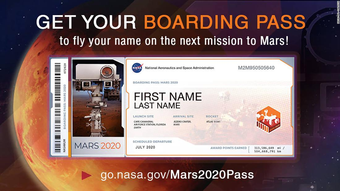 Send in your names to fly aboard the rover to Mars. (Your name, not you)