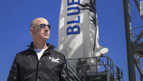 Jeff Bezos, founder of Blue Origin, inspects New Shepard's West Texas launch facility before the rocket's maiden voyage. Blue Origin