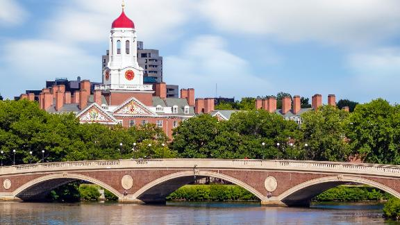 John W. Weeks Bridge with clock tower over Charles River in Harvard University campus Boston