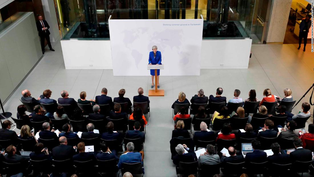 "May delivers a speech proposing <a href=""https://edition.cnn.com/2019/05/21/world/theresa-may-new-brexit-deal-gbr-intl/index.html"" target=""_blank"">a ""new Brexit plan"" </a>in May 2019."