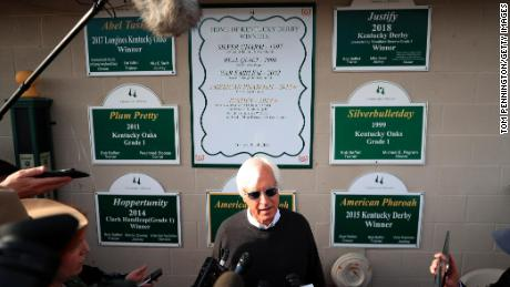 Bob Baffert speaks to reporters ahead of the 145th Kentucky Derby at Churchill Downs 2019 in Louisville.  Baffert was inducted into the Sports Hall of Fame in 2009.