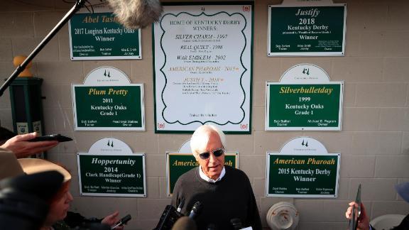 Bob Baffert talks to the media ahead of the 2019 Kentucky Derby at Churchill Downs.