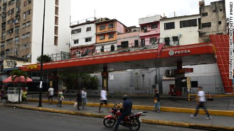 A closed gas station in the outskirts of Caracas, Venezuela.