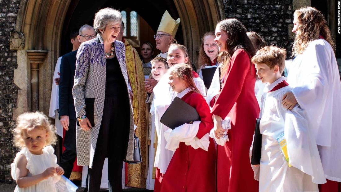 May attends an Easter church service in Sonning, England, in April 2019.