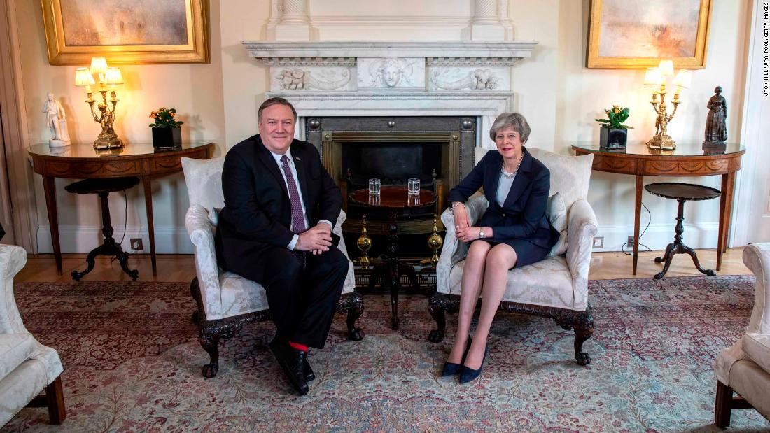 US Secretary of State Mike Pompeo meets with May in London in May 2019.