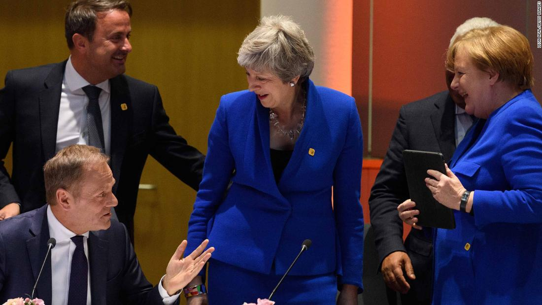 "May attends a meeting in Brussels in April 2019. After she formally requested a short extension to Brexit, the European Union <a href=""https://edition.cnn.com/2019/04/10/uk/brexit-delay-eu-gbr-intl/index.html"" target=""_blank"">forced Britain to accept a six-month delay </a>with an option to leave earlier if the UK Parliament can agree on a deal."