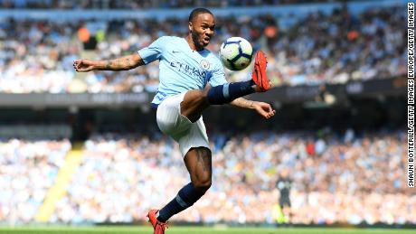 MANCHESTER, ENGLAND - APRIL 20:  Raheem Sterling of Manchester City controls the ball during the Premier League match between Manchester City and Tottenham Hotspur at Etihad Stadium on April 20, 2019 in Manchester, United Kingdom. (Photo by Shaun Botterill/Getty Images)
