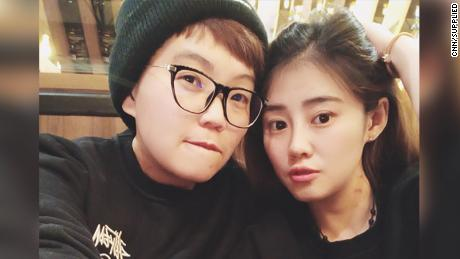 Cecilia Yang (R) and her partner who is from Taiwan.