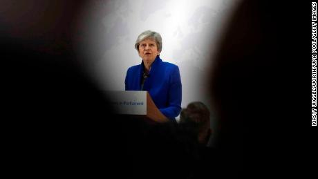 UK Prime Minister Theresa May delivers a speech detailing a new Brexit deal on May 21 in London.