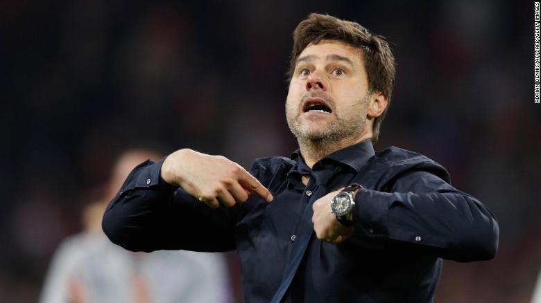 An emotional Mauricio Pochettino celebrates after guiding Tottenham to the Champions League final.