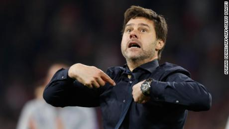 Mauricio Pochettino is seen on the sidelines of a matach against Ajax on May 8, 2019.