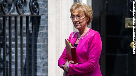 Andrea Leadsom, former leader of the House of Commons, departs Downing Street after attending a weekly meeting of cabinet ministers on May 21, a day before resigning.