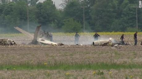 Two people died when this airplane crashed into a field after takeoff.