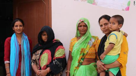 Pawan Kumar's cousin (left), wife Nisha Devi; Mother, Savitri Devi; and Sister Deep Mala at her family home in the village of Khairthal near Alwar in Rajasthan.