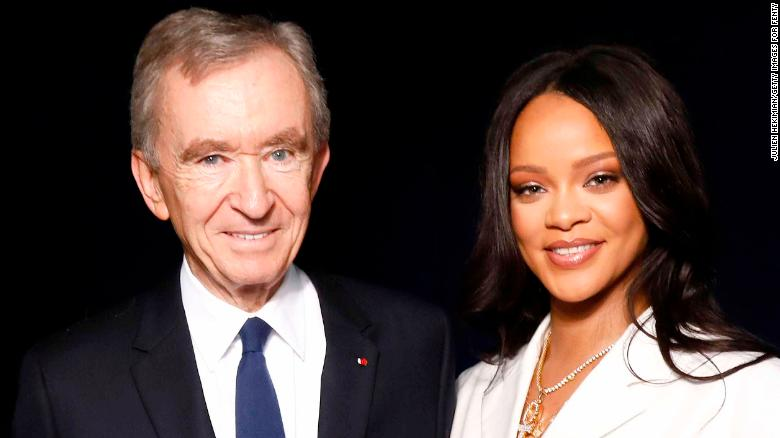 Rihanna and LVMH Chairman Bernard Arnault attend the Fenty launch on May 22, 2019 in Paris.