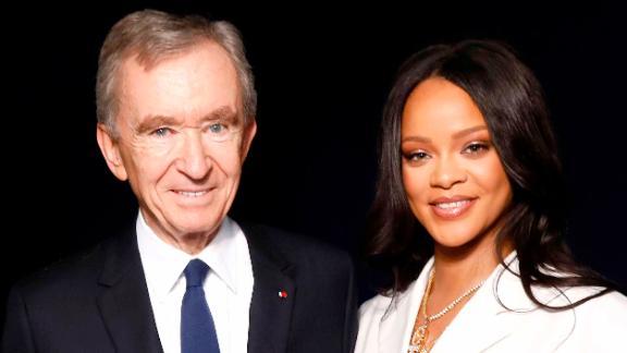 Rihanna and LVMH Chairman Bernard Arnault attend the Fenty launch on May 22, 2019 in Paris.