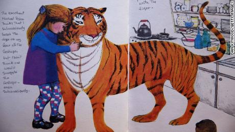 LONDON, ENGLAND - DECEMBER 04:  An annotated page from 'The Tiger who came to tea' by Judith Kerr is displayed at Sotheby's auction House on December 4, 2014 in London, England. A selection of annotated first edition books from the Worlds greatest living illustrators and authors including contributions from Michael Bond, Raymond Briggs, Quentin Blake, Lauren Child, Terry Gilliam, Judith Kerr, Paula Rego & Gerald Scarfe are to be auctioned to Raise Money for 'House of Illustration' on December 8, 2014.  (Photo by Dan Kitwood/Getty Images)