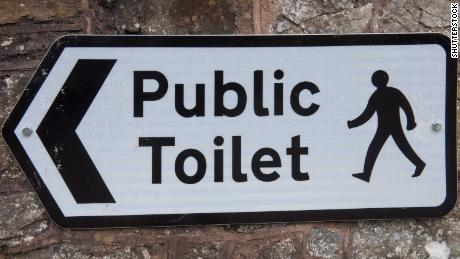 """Public Toilet"" Sign in the Market Town of Chulmleigh in Rural Devon, England, UK"