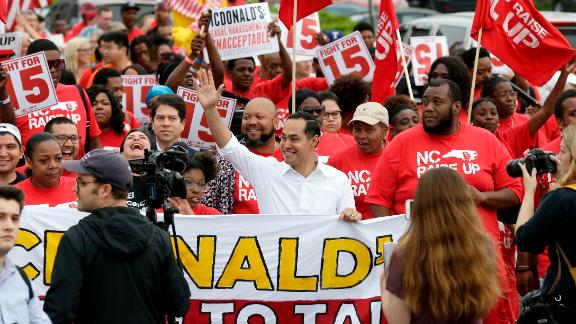 Presidential candidate and former U.S. Department of Housing and Urban Development Julian Castro rallies with McDonald
