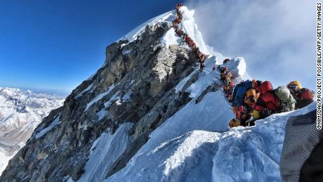 A photo posted on Instagram by climber Nirmal Purja shows heavy traffic towards the summit.