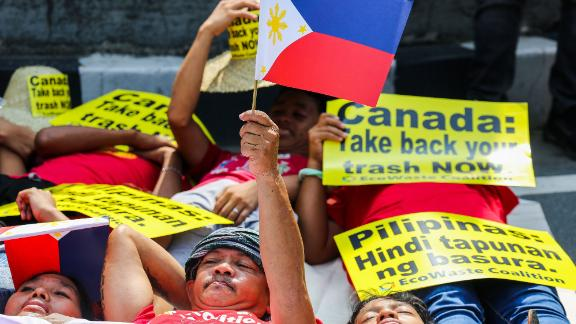 Environmental activists, belonging to the waste and pollution watch group EcoWaste coalition, protest outside the Canadian embassy in Manila, Philippines on May 21, 2019.